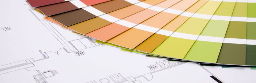 Plans and paint swatches used by professional painters in Auckland